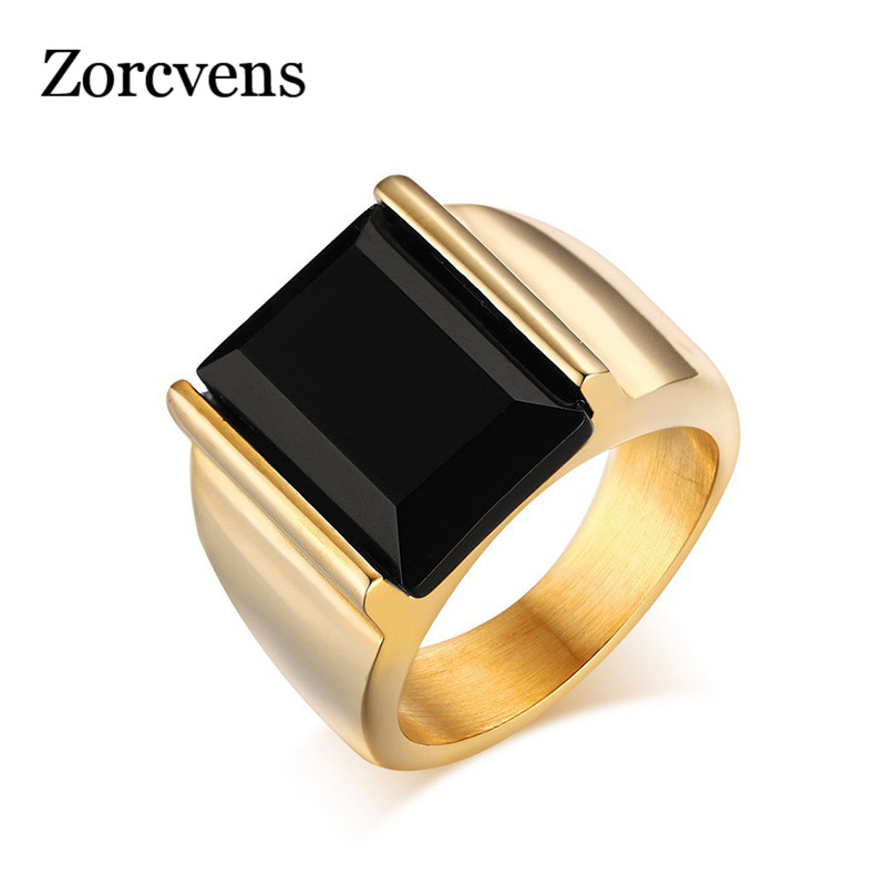 ZORCVENS Top Quality Gold-Color ring black large stone 316L stainless steel rings jewelry for men brithday gift gold earrings for women