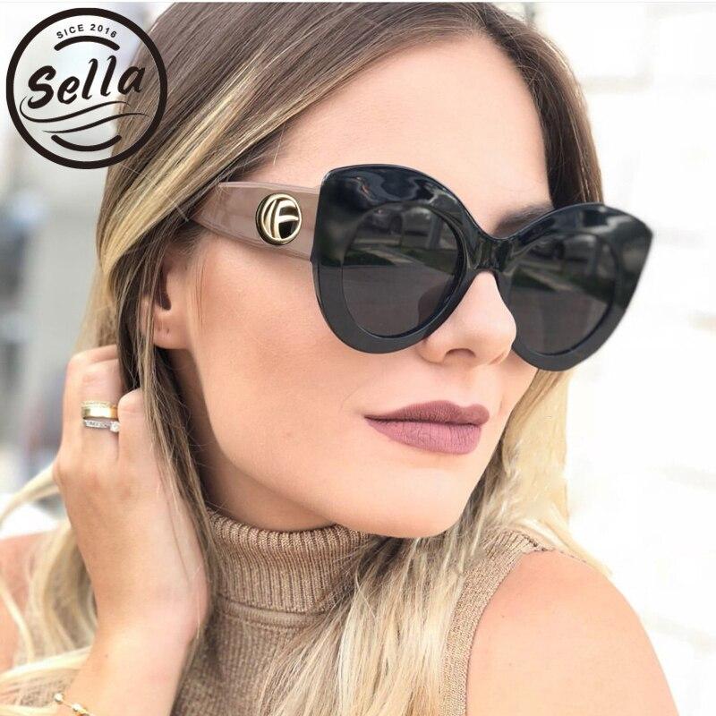 Sella New Fashion Women Oversized Cateye Sunglasses Brand Designer High Quality Thick Frame Pink Summer Sun Glasses Eyewear