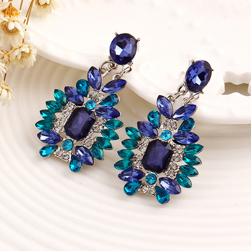 Hot Royal Blue Water Drop Crystal Rhinestone Statement Dangle Earring Fancy Luxury Summer Style Earrings For Women In From