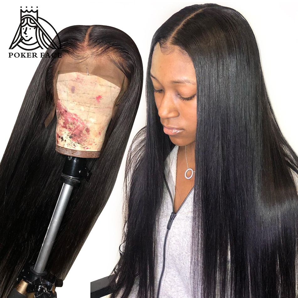 Poker Face Straight Full Lace Wig Virgin Hair 250% Density 360 Lace Frontal Wig For Women Indian Human Hair Natural