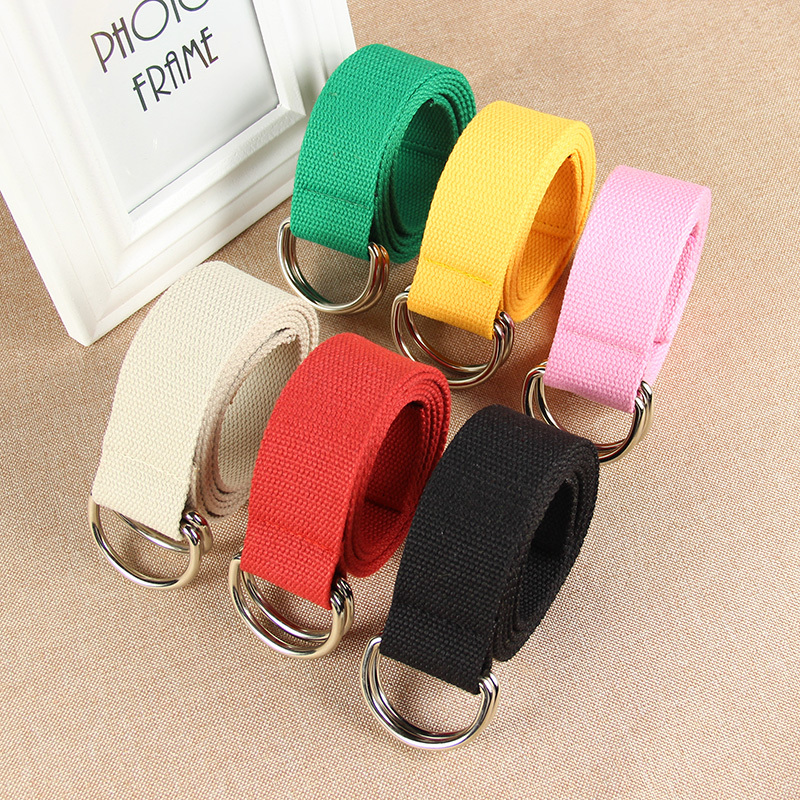Simple Solid Cotton Canvas All-match Waist Straps Women Canvas   Belt   D Shaped Double Ring Buckle Waistband Fashion