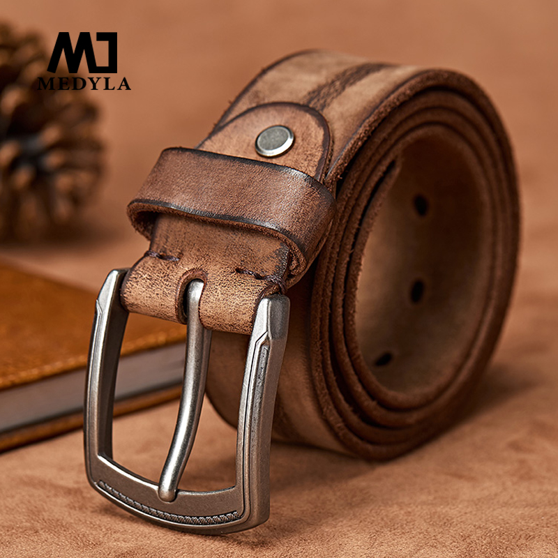 MEDYLA Original Cowhide Leather Belt Men Leather Belts for Jeans Casual Design Cowboy Waistband Handmade Green