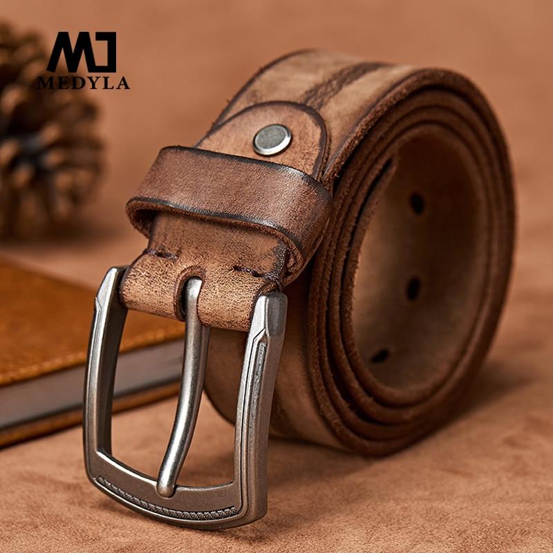 MEDYLA オリジナル牛革革ベルト男性ジーンズカジュアルデザインカウボーイウエストバンド手作りストラップ  グループ上の アパレル アクセサリー からの メンズベルト の中 1