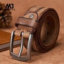 Ремень MEDYLA мужской из воловьей кожи, Модный повседневный пояс ручной работы с металлической пряжкой с язычком, в стиле кэжуал, для джинсов