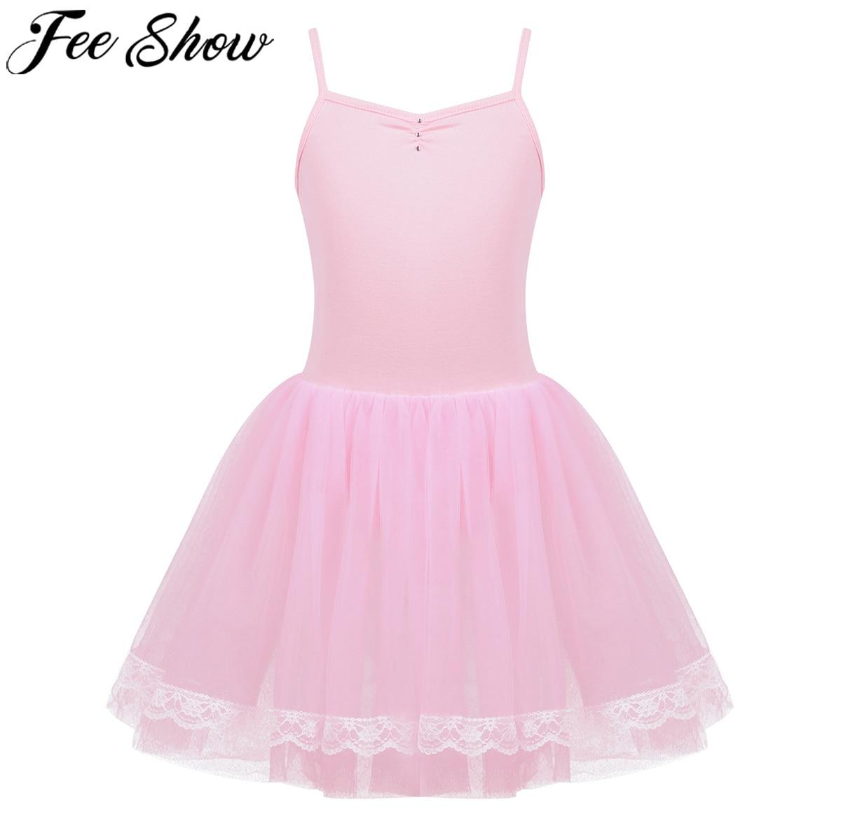 FEESHOW Kids Girls Dancing Dress Up Bowknot Rhinestone Shiny Ballet Dance Gymnastics Leotard Mesh Tutu Skirt Ballerina Costume