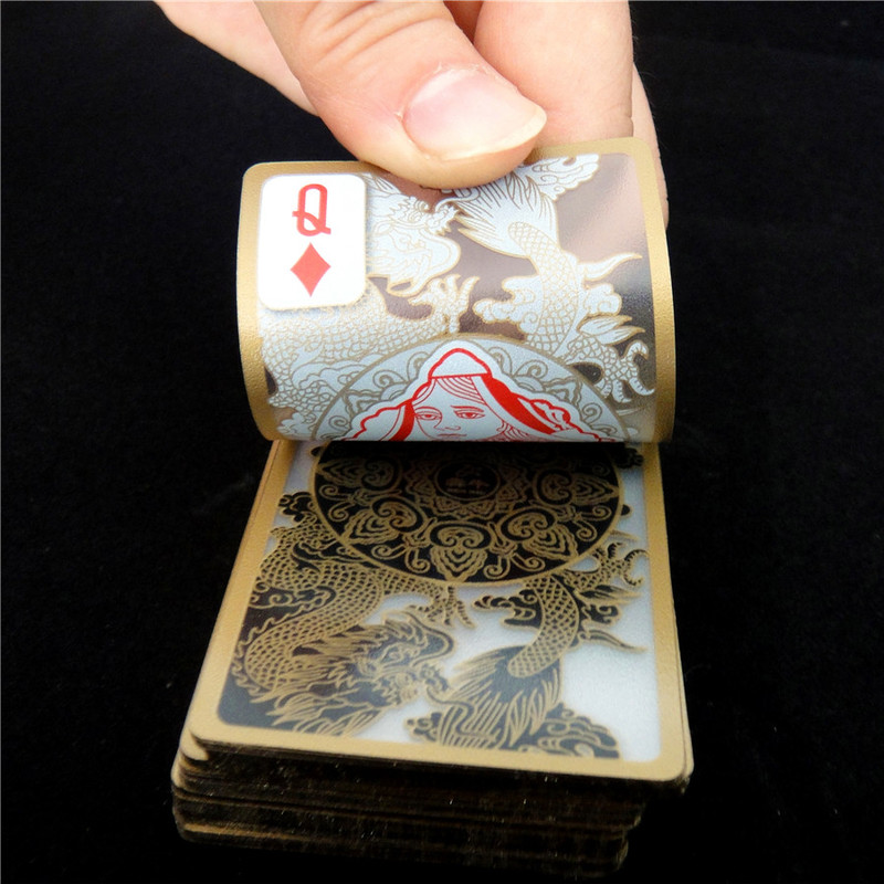 1pcs Waterproof Plastic Poker Cards Gold Gilded Crystal