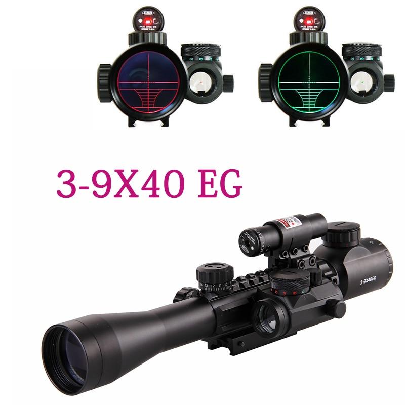 Óptica de caza 3-9X40 iluminado láser rojo Riflescope con vista holográfica punto Combo Airsoft arma vista envío gratis
