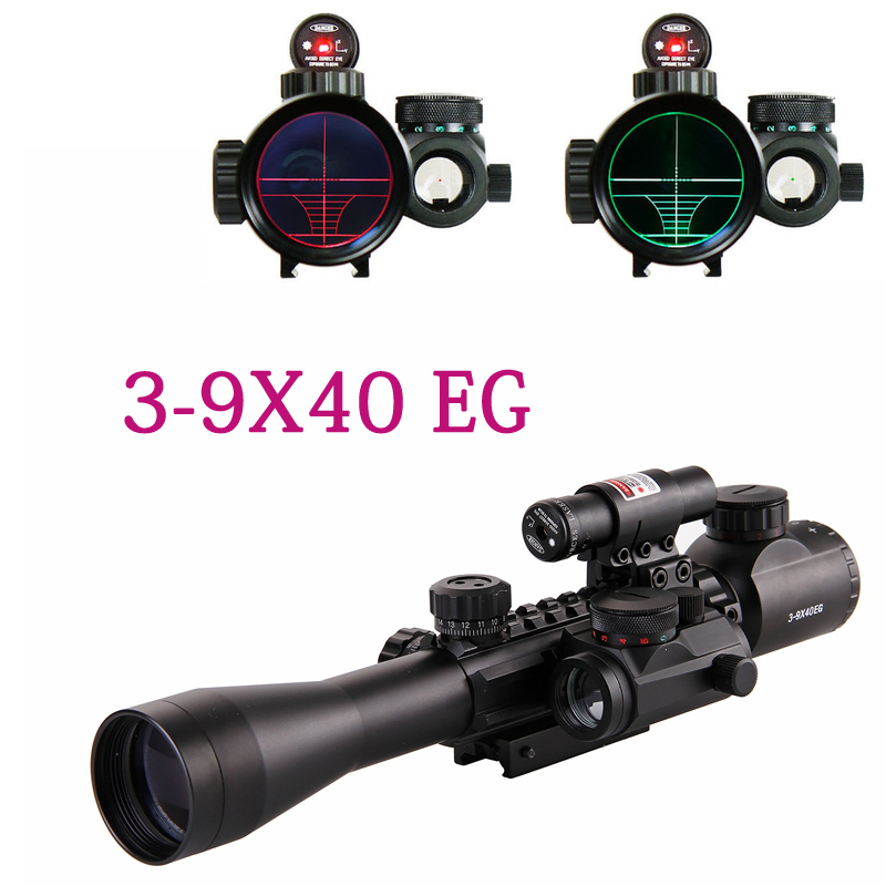 Hunting Optics 3-9X40 Illuminated Red Laser Riflescope with Holographic Dot Sight Combo Airsoft Gun Weapon Sight Free shipping 1set riflescope hunting optics rifle 3 9x40 illuminated red green laser riflescope w holographic dot sight airsoft weapon sight