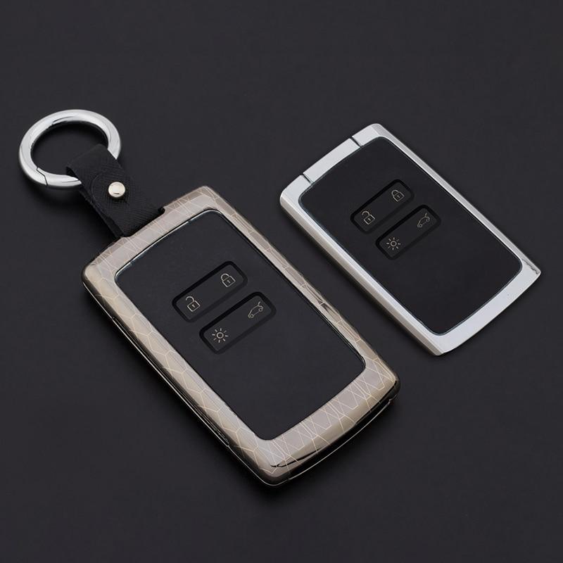 Auto Key protect Zinc Alloy+Leather Keychain Car key cover case protector holder for Renault koleos Kadjar Keys With Key Rings etui na karte renault megane 4