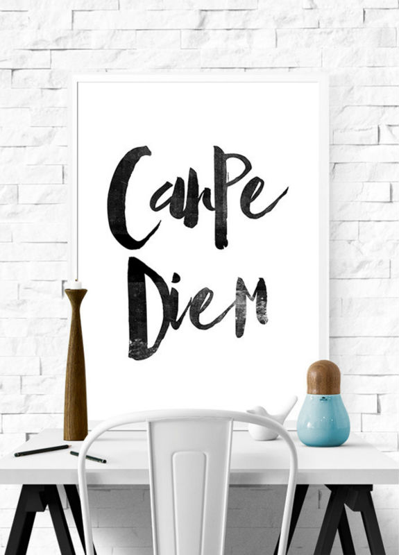 Carpe Diem Wall Art Seize The Day Black White Art Scandinavian Typographic Print Canvas painting Boudoir Distressed Unframed