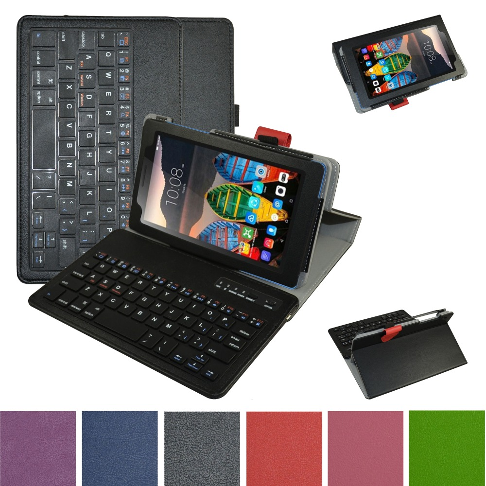 For Lenovo Tab 3 7 Case, Removable Bluetooth Keyboard Leather Case Cover For 7.0Lenovo Tab 3 7 Essential Tab-710F