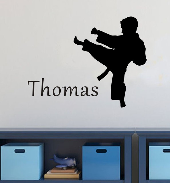 Personalized Name Customer Karate Martial Arts Kids room wall quote stickers art
