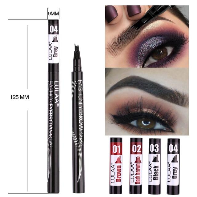 LULAA 6 Color Liquid Eyebrow Enhancer Eyebrow Tattoo Pen Sketch Waterproof Eyebrow Pencil 4 Head Long-lasting Eye Makeup 2