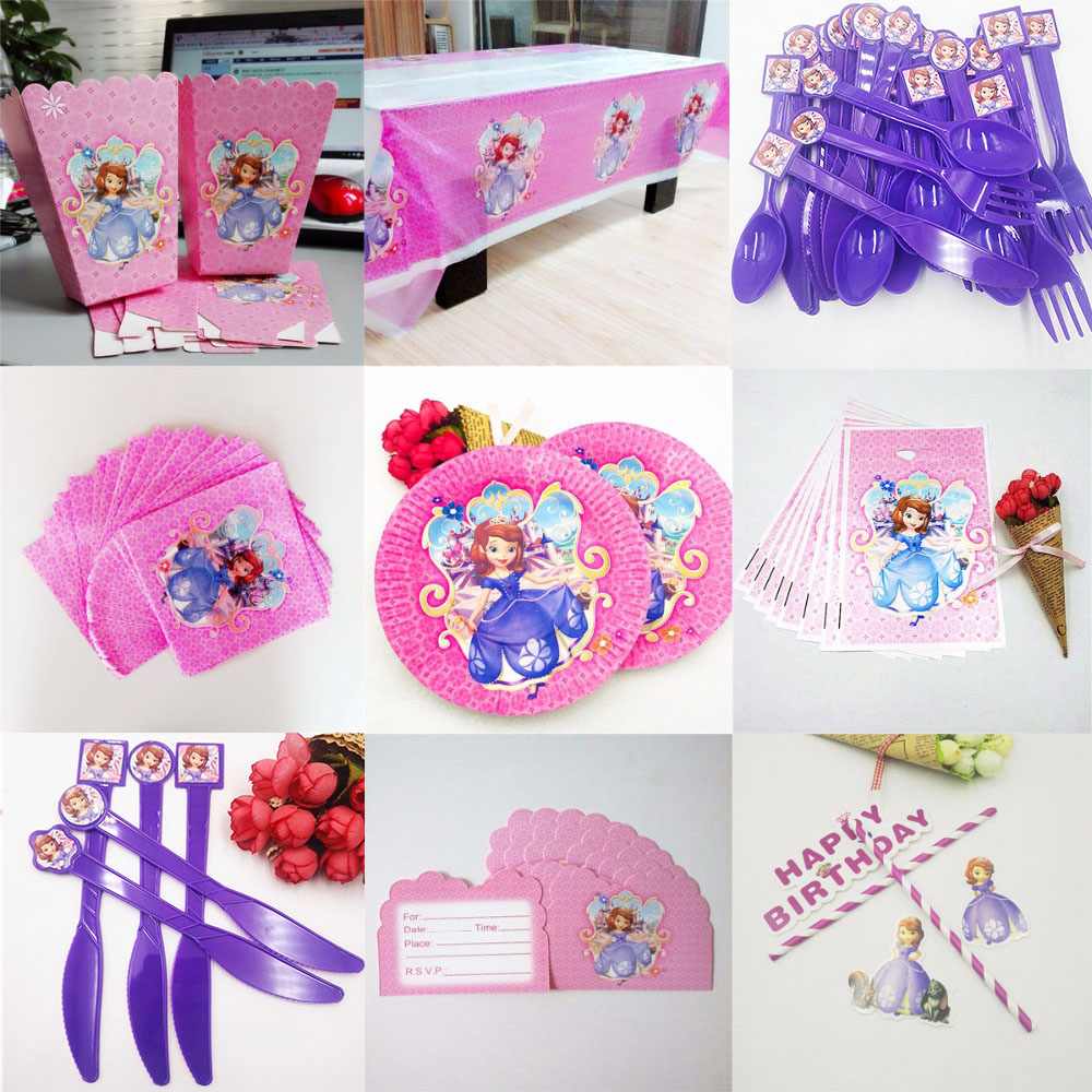 Sofia Princess Party Supplies Napkins CandlesTablecloth Plates Cup Knives And Forks Spoon seal Popcorn Birthday Party Decoration in Disposable Party Tableware from Home Garden