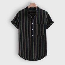 Корейские полосатые рубашки Харадзюку, мужские рубашки с коротким рукавом, мужские рубашки в стиле хип-хоп, Уличная Повседневная Свободная рабочая рубашка, мужские рубашки