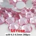 Não Hotfix Strass De Vidro AAA 288 pcs ss30 6.3-6.5mm Rosa Claro Cola Flatback Em Pedras de Cristal Gems para Fazer Jóias
