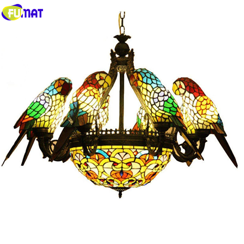 FUMAT perroquet Tiffany lustres 6 têtes vitrail LED E27 plafonniers suspension