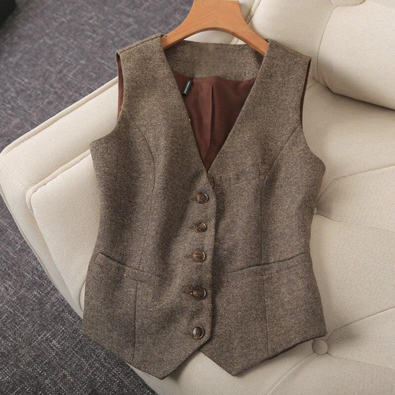 Pour D'affaires V Taille Nouveau Mince Ladys 2019 Travail Femmes Automne Plus Bureau La brown Vêtements Sans grey Plaid Manche Gilet Black Printemps De cou qw0xdfaxXv