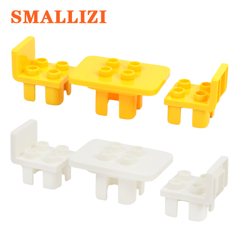 Furniture Table Chair Accessories Building Blocks Self-locking Bricks Educational Kids Toy For Children Compatible With Duplo