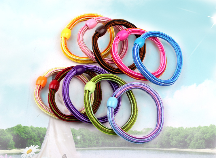Fashion Elastic Hair Bands For Women Stripped Print Acrylic Hair Loops Thicken Gums For Hair Plastic Button Rubber Band Headwear in Girl 39 s Hair Accessories from Apparel Accessories