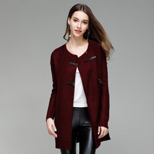 women sweaters computer knitted cardigans solid button fashion long o-neck female 2019 winter basic