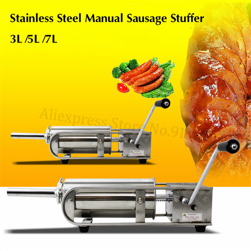 3L Sausage Stuffer Meat Filler Salami Maker Manual Spanish Churros Making Machine Horizontal Type