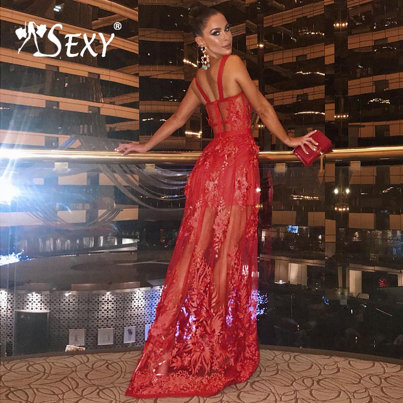 Gosexy 2019 New Women A Line Red Bandage Dress Floral Lace Sleeveless Spaghetti Strap Dress Floor Length Strapless Lady Fashion