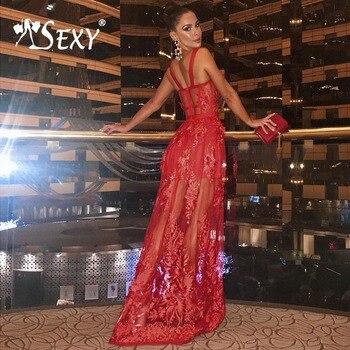 0b248c4baffc0 Gosexy 2019 Yeni Kadın A-Line Kırmızı Bandaj Elbise Çiçek Dantel Kolsuz  Spagetti kemerli elbise Kat-Uzunluk Straplez Lady Moda