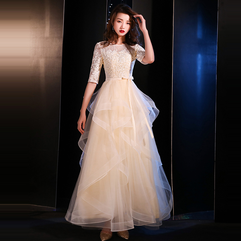 2019 New Hot Tulle   Evening     Dress   For Wedding Lace Embroidery Ruffles Prom Gowns Round Neck Long Formal   Dresses   Vestido de noche