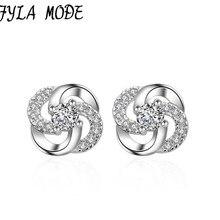 Здесь можно купить   925 Sterling Silver Earring High Quality Hollow Crystal Flower Design Mini Stud Earring For Girl Pretty Wedding Accessory