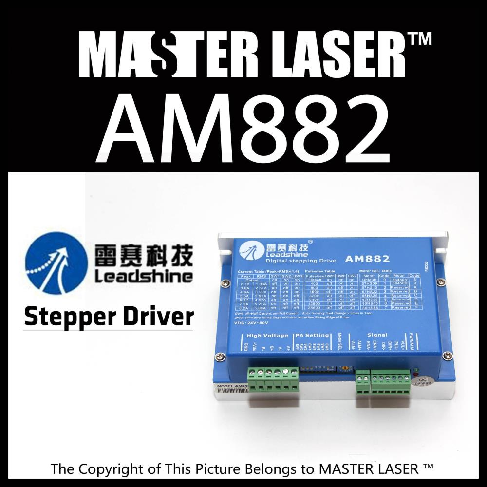 Leadshine AM882 - 2 Phase Digital Stepper Drive With Stall Detection Max 80 VDC / 8.2A Laser Stepping Motor DRIVER 2pcs lot leadshine 2 phase high precision stepper drive am882