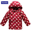 2016 New Fashion Dots Print Childrens Down Coat Girls Winter Hooded Long Sleeve All-match Red Blue Green Hot Sale Tops 3-9 Y