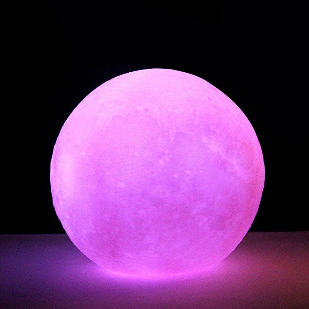 3D принт многоцветный настольная лампа светодиодный луна светильник Ночной светильник луна светильник личность лунный светильник луна светильник домашний декор - Цвет: Pink