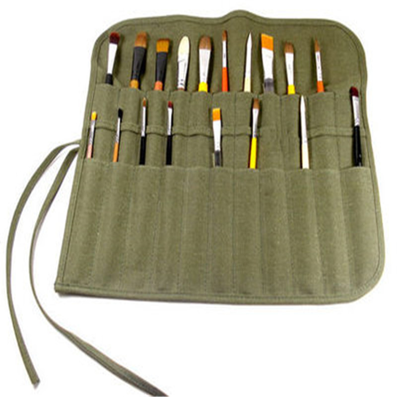 New Paint Brush Pencil Bag 22-Slot Double Layer Roll Up Canvas Wrap Pouch Case Organizer Pouch Perfect Storage For Art Painting