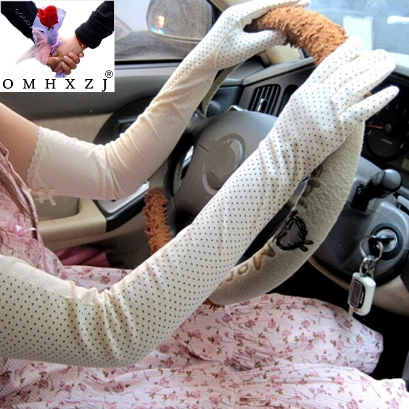 OMH Wholesale Dots Lace Long Sleeve Gloves Antiskid Uv Cotton Electric Vehicles Prevented Bask In Cuff Arm Warmers ST19