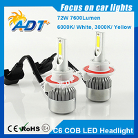 C6 COB H7 LED Headlight Kit 72W 7600LM All In One H13 H4 H8 H9 H10