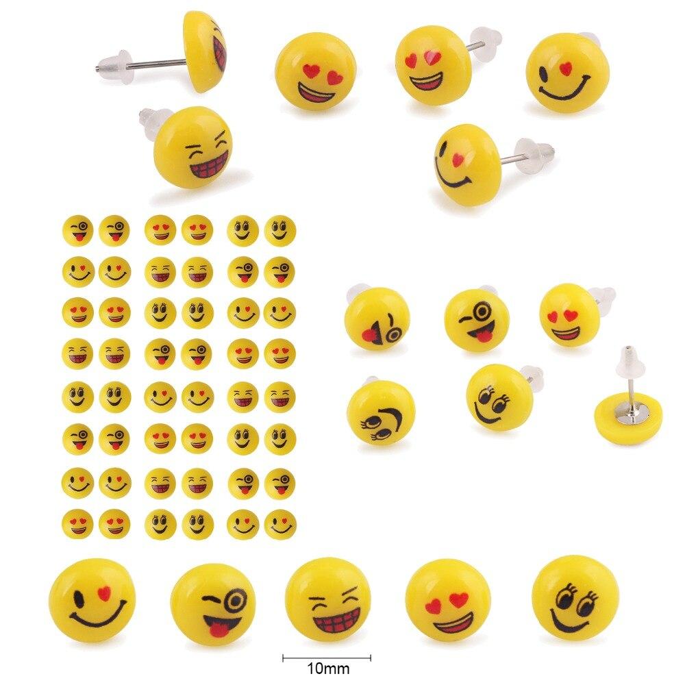 Smiley feliz aretes remolque pendiente plata de metal