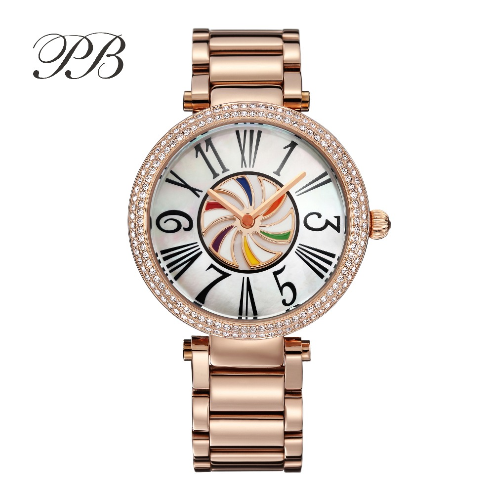 New Arrivals Famous PB Brand Princess Butterfly Rotating Rainbow Watch Luxury Austria Crystal Watch Lady Sapphire Wrist Watch matisse lady austria full crystal dial