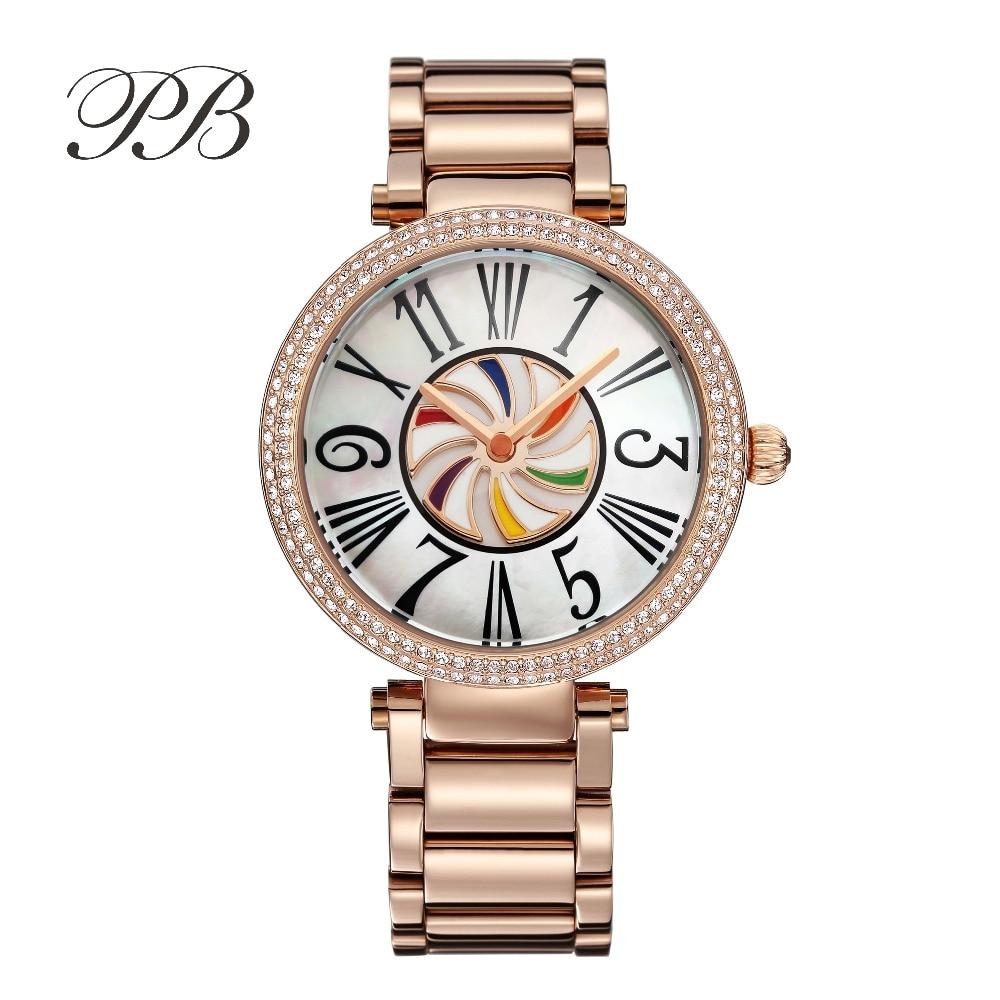 New Arrivals Famous PB Brand Princess Butterfly Rotating Rainbow Watch Luxury Austria Crystal Watch Lady Sapphire Wrist Watch