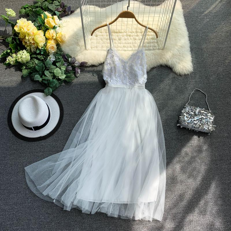 V-Neck Sequins Backless Sleeveless A-line Dress 3