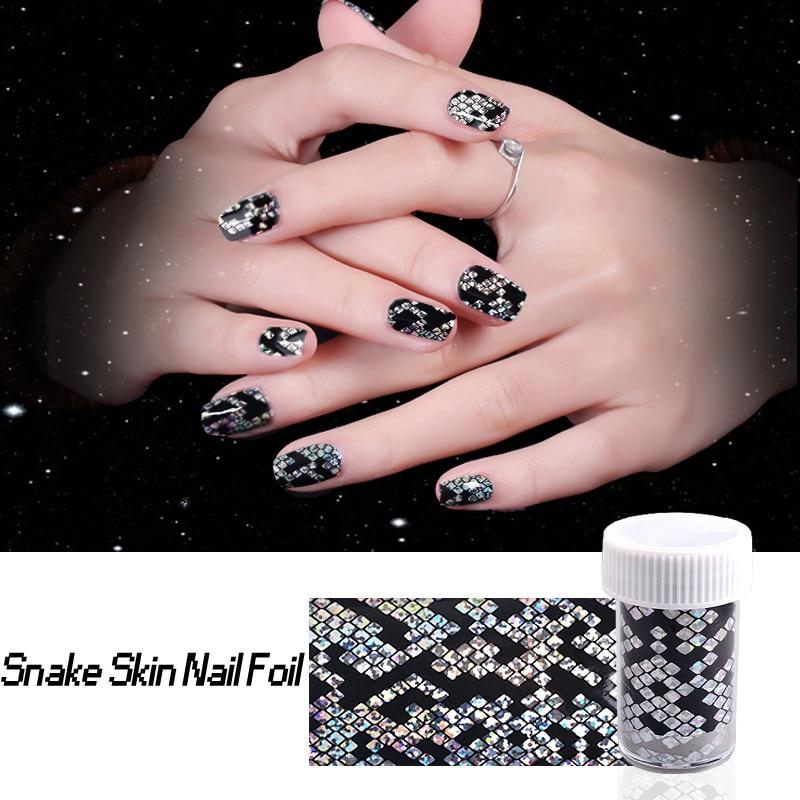 1roll 4cm 120cm Holographic font b Nail b font Foils Snake Skin font b Nail b