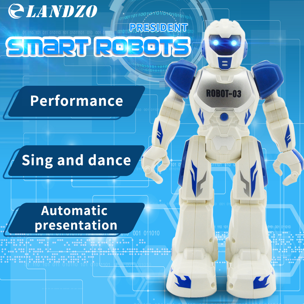LANDZO Smart Robots President Robot Intelligent Remote Control Programming Smart Robots Toys Launching sing Dancing boy toys купить