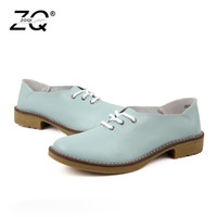 ZOCN Plus Size 35 42 Genuine Leather Shoes Woman Oxford Shoes Lace Up Casual Shoes Four