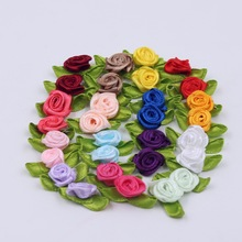 2cm 50pcs/lot Silk Bow-Knot Mini Rosette for Home Wedding Party Ribbon Cake Clothing Decoration Scrapbooking DIY Crafts Supplies