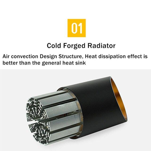 [DBF] أسود / أبيض طويل أنبوب سلك معلق الكوز سقف بقعة ضوء عكس الضوء 7W 3000K / 4000K / 6000K سطح الخيالة النازل AC220 3