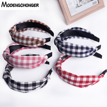 6 Colors Wide Side Turban Hairband Double Patchwork Hair Bezel Square Stripe Headband Hoop Fashion Accessories