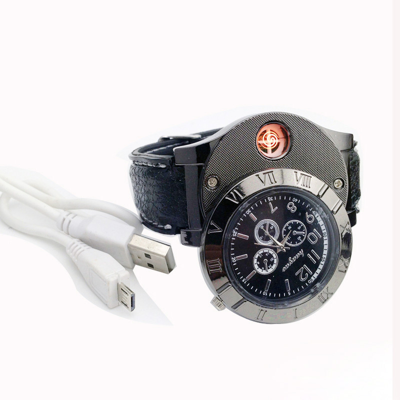 New Arrival Wristwatch Lighter Gift For Man Function Rechargeable USB Charge Watch Lighter font b Electronic