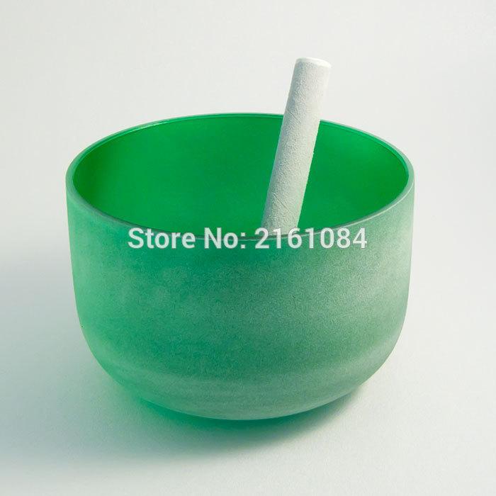 """12 """"zelená barva F srdce čakra matná křišťálová zpěvná mísa s volným semišem a o-kroužkem"""