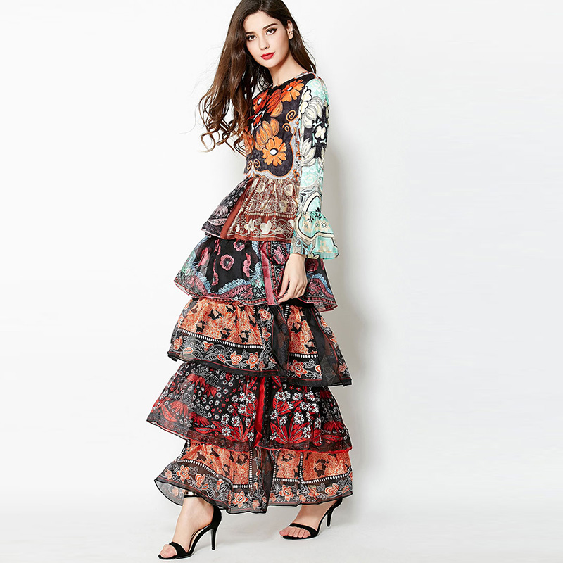 Spring Summer Runway Women Floral Print Layers Maxi Dress Long Flare Sleeve  Vintage Designer Party Dresses Ladies femme vestiods bd3eb8b1eb77