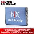 Mini dvr gravador de cartão sd da sustentação 128 gb placa dvr 2ch 25fps em tempo real mpeg-4 de compressão de vídeo motion detection vga 640*480